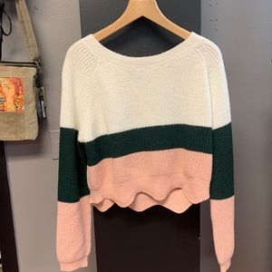 Cropped slouchy sweater Large CUTE striped EUC